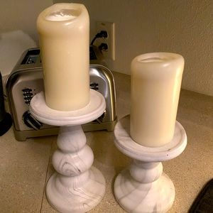 set of two ceramic candle holders
